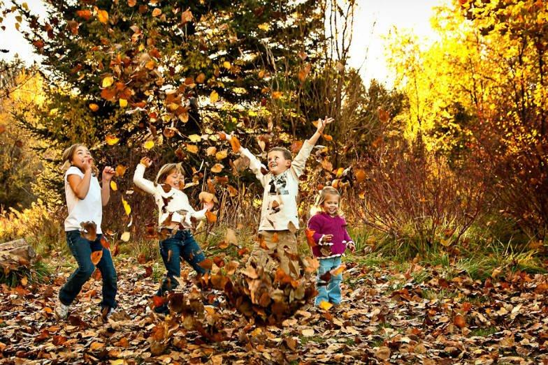 дети играют листья осень
